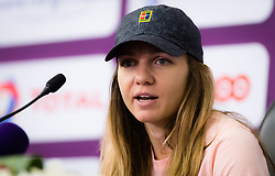 February 12, 2019 - Doha, QATAR - Simona Halep of Romania talks to the media during the All Access Hour at the 2019 Qatar Total Open WTA Premier tennis tournament (Credit Image: © AFP7 via ZUMA Wire)