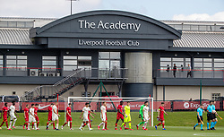 LIVERPOOL, ENGLAND - Wednesday, September 15, 2021: Liverpool's captain Tyler Morton leads his side out before the UEFA Youth League Group B Matchday 1 game between Liverpool FC Under19's and AC Milan Under 19's at the Liverpool Academy. Liverpool won 1-0. (Pic by David Rawcliffe/Propaganda)