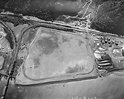 "ackroyd_19031-2. ""City of Portland aerials. Stock. September 12, 1974"", ""Schnitzer property"" (Wacker, Siltronic. Railroad bridge on left) Wacker Siltronic"