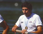 Lucerne, SWITZERLAND. [ITA M2+   Bow. Carmine ABBAGNALE  1988  Lucerne International Regatta, Lake Rotsee. June 1988 [Mandatory Credit - Peter Spurrier/Intersport Images] 1988 Lucerne International Regatta