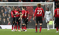 Football - 2018 / 2019 EFL Carabao Cup (League Cup) - Third Round: Manchester United vs. Derby County<br /> <br />  Phil Jones of Manchester United is consoled by his team mates after having his penalty saved at Old Trafford.<br /> <br /> COLORSPORT/LYNNE CAMERON
