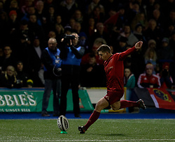 Munster's Ian Keatley converts<br /> <br /> Photographer Simon King/Replay Images<br /> <br /> Guinness PRO14 Round 15 - Cardiff Blues v Munster - Saturday 17th February 2018 - Cardiff Arms Park - Cardiff<br /> <br /> World Copyright © Replay Images . All rights reserved. info@replayimages.co.uk - http://replayimages.co.uk