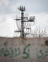 26 February 2020, Abu Dis, Palestine: Power line running through Abu Dis.