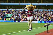 The Aston Villa mascot jumps and celebrates after Scott Sinclair of Aston Villa scores his teams 1st goal .Barclays Premier League match, Aston Villa v Sunderland at Villa Park in Birmingham, Midlands on Saturday 29th August  2015.<br /> pic by Andrew Orchard, Andrew Orchard sports photography.