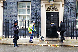 © Licensed to London News Pictures. 21/10/2019. London, UK. A Westminster City Council road sweeper sweeps the dry leaves outside Number 10 Downing Street. Photo credit: Dinendra Haria/LNP