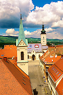 The Medieval  free royal city on Gradec on the hill of Zagreb, Croatia .<br /> <br /> Visit our CROATIA HISTORIC SITES PHOTO COLLECTIONS for more photos to download or buy as wall art prints https://funkystock.photoshelter.com/gallery-collection/Pictures-Images-of-Croatia-Photos-of-Croatian-Historic-Landmark-Sites/C0000cY_V8uDo_ls