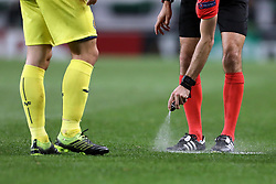 February 14, 2019 - Lisbon, Portugal - Spray that the referees use in game during the Europa League 2018/2019 footballl match between Sporting CP vs Villarreal FC. (Credit Image: © David Martins/SOPA Images via ZUMA Wire)