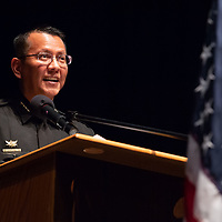 New Gallup Chief of Police Franklin Boyd, at the podium, smiles after telling a joke during his speech moments after officially swearing in and assuming the duties. The ceremony was held at the El Morro Theater in downtown Gallup Friday.