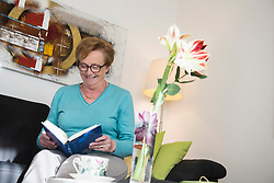 Happy old woman sitting on sofa reading a book