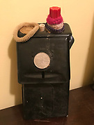 """Black donation box (old mail box) with """"free sundae coin glued on it"""" with hair ties from inside grocery 10 in tall by 5in wide<br /> <br /> THIS IS PART OF OUR COLLECTION OF MARGARET'S GROCERY AND REV. H.D. DENNIS - ART WORKS in Mississippi Folk Art Foundations Collection <br /> <br /> Ms. Altman is the Founder and Director of the Mississippi Folk Art Foundation a non profit, that is dedicated to preserving Margaret's Grocery. A visionary outdoor folk environment in Vicksburg Mississippi.<br />  to see some of the collection documented by William Arnett in his book Souls Grown Deep volume 2 please see see link below.<br /> <br /> http://www.soulsgrowndeep.org/artist/rev-harmon-d-dennis<br /> <br /> <br /> https://www.gofundme.com/SaveMargaretsGrocery?lang=en-US"""