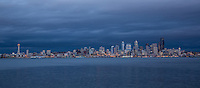 Rain clouds overtake Seattle at sunset from Alki Point