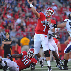Sep 19, 2009; Piscataway, NJ, USA; Rutgers quarterback Tom Savage (7) throws a pass during the first half of NCAA college football between Rutgers and Florida International at Rutgers Stadium.