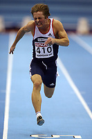 Photo: Rich Eaton.<br /> <br /> EAA European Athletics Indoor Championships, Birmingham 2007. 03/03/2007. Henrik Johnsen of Norway competes in the heats of the mens 60m