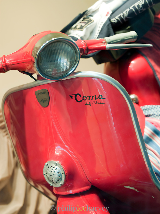 Detail of an Italian moped in Rome, Italy.