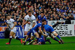 March 10, 2018 - Saint Denis, Seine Saint Denis, France - The scrum-half of French Team MAXIME MACHENAUD in action during the NatWest Six Nations Rugby tournament between France and England at the Stade de France - St Denis - France..France won 22-16 (Credit Image: © Pierre Stevenin via ZUMA Wire)
