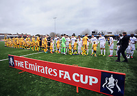 Football - 2016 / 2017 FA Cup - Fourth Round: Sutton United vs. Leeds United<br /> <br /> Sutton and Leeds teams shake hands before kick off at Gander Green Lane.<br /> <br /> COLORSPORT/ANDREW COWIE