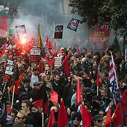 The Battle of Cable Street took place 80 years ago and hundreds marched to comemorate and celebrate the defeat of Mosley's fascists in East London, 9th of October 2016. The march united anti-fascists and ant-racists from various groups including, Jewish groups, trade unions, anti-fascists militants, Labour and the Greens Party and other likeminded socialists.