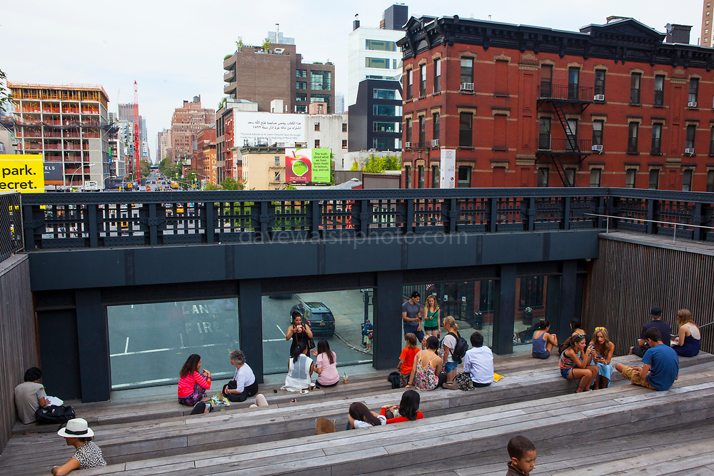 The High Line is a 2.33 km elevated linear park, greenway and rail trail following the path of railway on Manhattan's West Side in New York City.