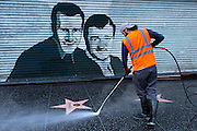 Cleaning the walk of fame in the early morning hours at Holywood Boulevard. COPYRIGHT JURRIAAN BROBBEL