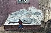 Rock Salt: Refining salt, Northwich Cheshire, England. Brine heated with eggs and resulting scum containing impurities removed. From the Rev. Isaac Taylor  'Scenes of British Wealth', London, 1823. Hand-coloured engraving.