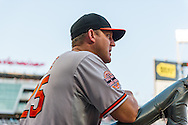 Baltimore Orioles Jim Thome #25 looks on from the dugout during a game against the Minnesota Twins at Target Field in Minneapolis, Minnesota on July 16, 2012.  The Twins defeated the Orioles 19 to 7 setting a Target Field record for runs scored by the Twins.  © 2012 Ben Krause