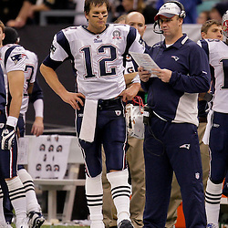 2009 November 30: New England Patriots quarterback Tom Brady (12) stands on the sideline after being pulled out in the fourth quarter during a 38-17 win by the New Orleans Saints over the New England Patriots at the Louisiana Superdome in New Orleans, Louisiana.