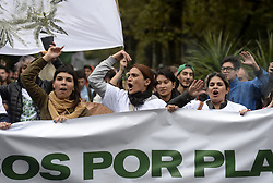 May 5, 2018 - La Plata, Buenos Aires, Argentina - Demonstrators participates on the annual World March of Marijuana in support of the legalization of the herb for recreational and medical use and for a broad and inclusive registry of patients with pathologies in which Cannabis has proven its effectiveness according to international standards and for the cessation of raids and arrests of users and growers across the country. (Credit Image: © Ignacio Amiconi/Pacific Press via ZUMA Wire)