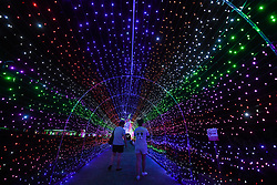 August 29, 2017 - A night view lit up by LED bulbs in Hesilu Village of Yiwu City, east China's Zhejiang Province. The village, a tourist spot famous for its lavender adorned scenery, is creating night scene with lighting system to attract more tourists. (Credit Image: © Xu Yu/Xinhua via ZUMA Wire)