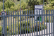 BRECON, Wales- 13 MAY 2020: A locked Trago Mills superstore during the covid19 pandemic lockdown in Wales.