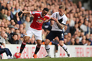 Anthony Martial of Manchester United is intercepted by Toby Alderweireld of Tottenham Hotspur. Barclays Premier league match, Tottenham Hotspur v Manchester Utd at White Hart Lane in London on Sunday 10th April 2016.<br /> pic by John Patrick Fletcher, Andrew Orchard sports photography.
