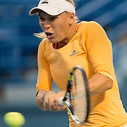 August 16, 2014, New Haven, CT:<br /> Caroline Wozniacki hits a backhand during a match against Timea Bacsinszky on day four of the 2014 Connecticut Open at the Yale University Tennis Center in New Haven, Connecticut Monday, August 18, 2014.<br /> (Photo by Billie Weiss/Connecticut Open)