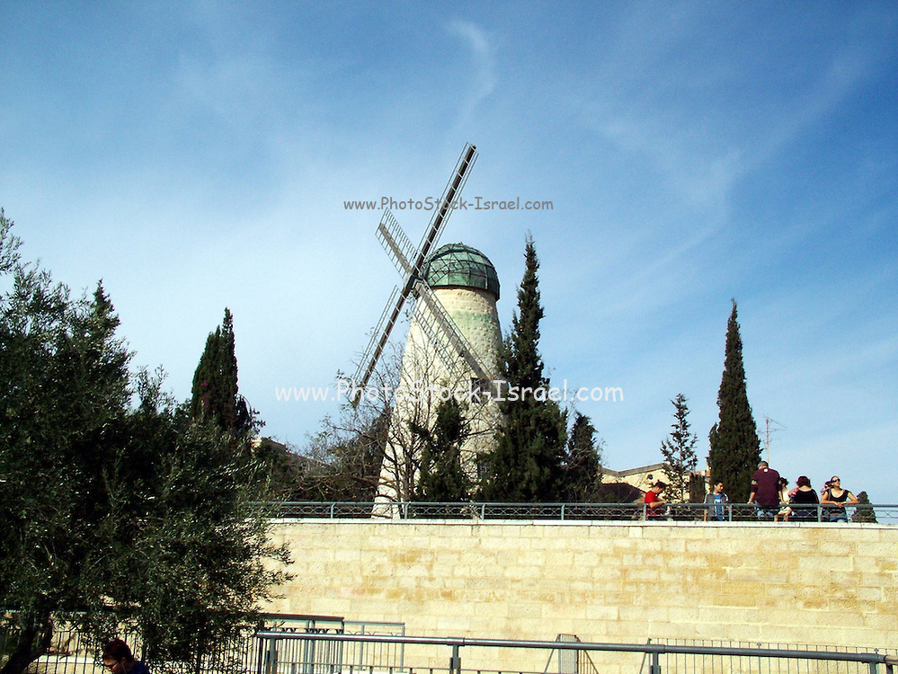 The windmill at Yamin Moshe Jerusalem was erected by Moshe Moses Montefiore in 1857 for grinding grain into flour
