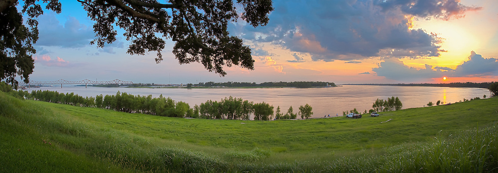 The bluffs at Southern University at the bend of the Mississippi River in Baton Rouge, Louisiana.