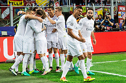Casemiro of Real Madrid and other players celebrate after Sergio Ramos of Real Madrid scored first goal for Real during football match between Real Madrid (ESP) and Atlético de Madrid (ESP) in Final of UEFA Champions League 2016, on May 28, 2016 in San Siro Stadium, Milan, Italy. Photo by Vid Ponikvar / Sportida