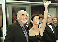 Co-stars of the film Entrapment, Sean Connery and Catherine Zeta-Jones arrive at the UK Premieré of the film at the Odeon in Edinburgh. The American film was directed by Jon Amiel, and starred Sean Connery and Catherine Zeta-Jones. The original music score was composed by Christopher Young.