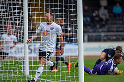 Ayr United's Mike Moffat celebrates after scoring their third goal. Dundee 0 v 3 Ayr United, Scottish League Cup Second Round, played 18/8/2018 at the Kilmac Stadium at Dens Park, Scotland.