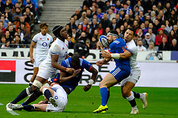 March 10, 2018 - Saint Denis, Seine Saint Denis, France - The Center of French Team GEOFFREY DOUMAYROU in action during the NatWest Six Nations Rugby tournament between France and England at the Stade de France - St Denis - France..France won 22-16 (Credit Image: © Pierre Stevenin via ZUMA Wire)