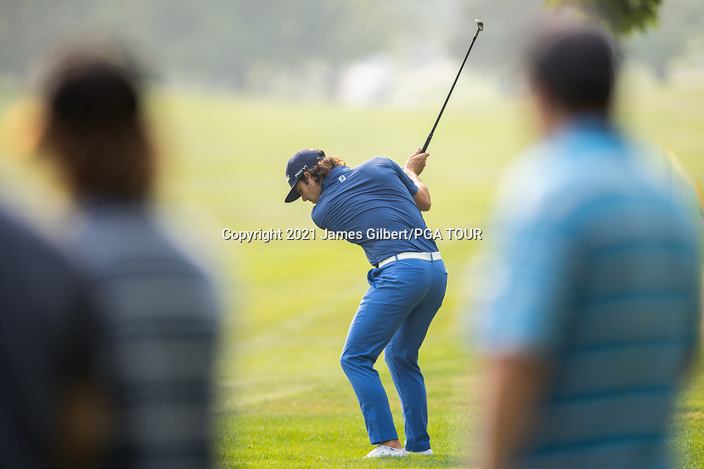 FARMINGTON, UT - AUGUST 08: Callum Tarren of England plays his shot from the 15th hole during the final round of the Utah Championship presented by Zions Bank at Oakridge Country Club on August 8, 2021 in Farmington, Utah. (Photo by James Gilbert/PGA TOUR via Getty Images)