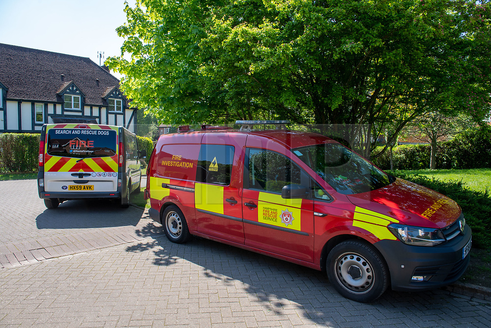 © Licensed to London News Pictures. 06/05/2020. Woolton Hill, UK. A fire investigation van from the Hampshire Fire and Rescue Service parked on Woolton Lodge Gardens. A fire has destroyed two houses on Woolton Lodge Gardens, Woolton Hill in Hampshire. The fire started approximately 20:10 BST on Tuesday 05/05/2020. Photo credit: Peter Manning/LNP