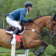 NORTH SALEM, NEW YORK - May 15: Peter Lutz, USA, riding Robin De Ponthual, in action during The $50,000 Old Salem Farm Grand Prix presented by The Kincade Group at the Old Salem Farm Spring Horse Show on May 15, 2016 in North Salem. (Photo by Tim Clayton/Corbis via Getty Images)