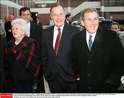 File photo : © Joe Burbank/KRT/ABACA. 41280-1. Tallahassee-FL-USA. 05/01/1999. The Bush family arrives at Jeb Bush's inaugural prayer breakfast at Florida A&M University in Tallahassee. From left, former first lady Barbara Bush, Marvin Bush, background, former preside Appearing before a raucous rally in front of thousands of supporters here Monday afternoon, former Florida governor Jeb Bush showed he is a force to be reckoned with in the presidential election as he officially launched his campaign.