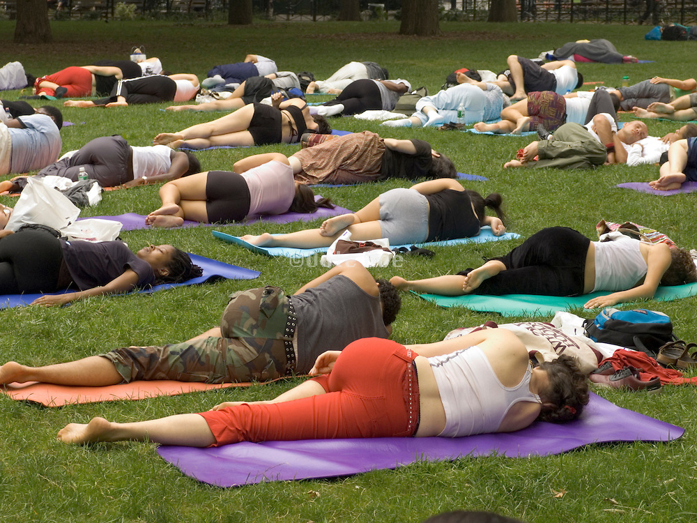 group yoga in Union Square park NYC