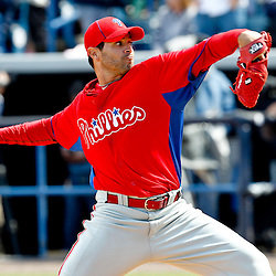 March 4, 2012; Tampa Bay, FL, USA; Philadelphia Phillies starting pitcher Joel Pineiro (39) during spring training game against the New York Yankees at George M. Steinbrenner Field. Mandatory Credit: Derick E. Hingle-US PRESSWIRE