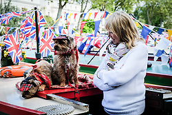 Two dogs, Pixie and Gyp dressed as traditonal bargees with their owner Sandra at the annual Canalway Cavalcade. Paddington basin, London 2014