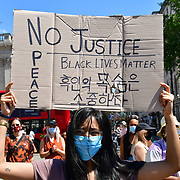 London, UK. 31th Mau 2020. Thousands holding placards George Floyd: protest of US police murder in Minnesota, in US.