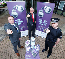 ONE USE ONLY. ONLY TO BE USED IN CONNECTION WITH THE YOU'RE ASKING FOR IT CAMPAIGN Undated handout photo issued by the Scottish Alcohol Industry Partnership (left to right) John Lee, Head of Policy and Public Affairs, Scottish Grocers Federation and Chair of the SAIP Campaigns Group, North Lanarkshire Council Leader Jim Logue and Divisional Commander for Lanarkshire Division, Chief Superintendent Roddy Irvine. The You're Asking For It campaign has been launched in an effort to stop adults buying alcohol for children in North Lanarkshire.