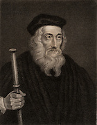 John Wycliffe (c1329-1384) English religious reformer.  Leader of the Lollards (Mumblers).  Questioned the doctrine of transubstantiation. Organised the  translation of Bible into English.  Precursor of Protestant Reformation. Engraving. Religion. Christi