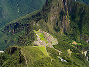 The Incan ruins of Machu Picchu, photographed from atop Montaña Machu Picchu, near Aguas Calientes, Peru.