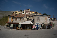 The main square of Castelluccio di Norcia. One road to the village is now open to the traffic and now tourist are visiting the destroyed village.