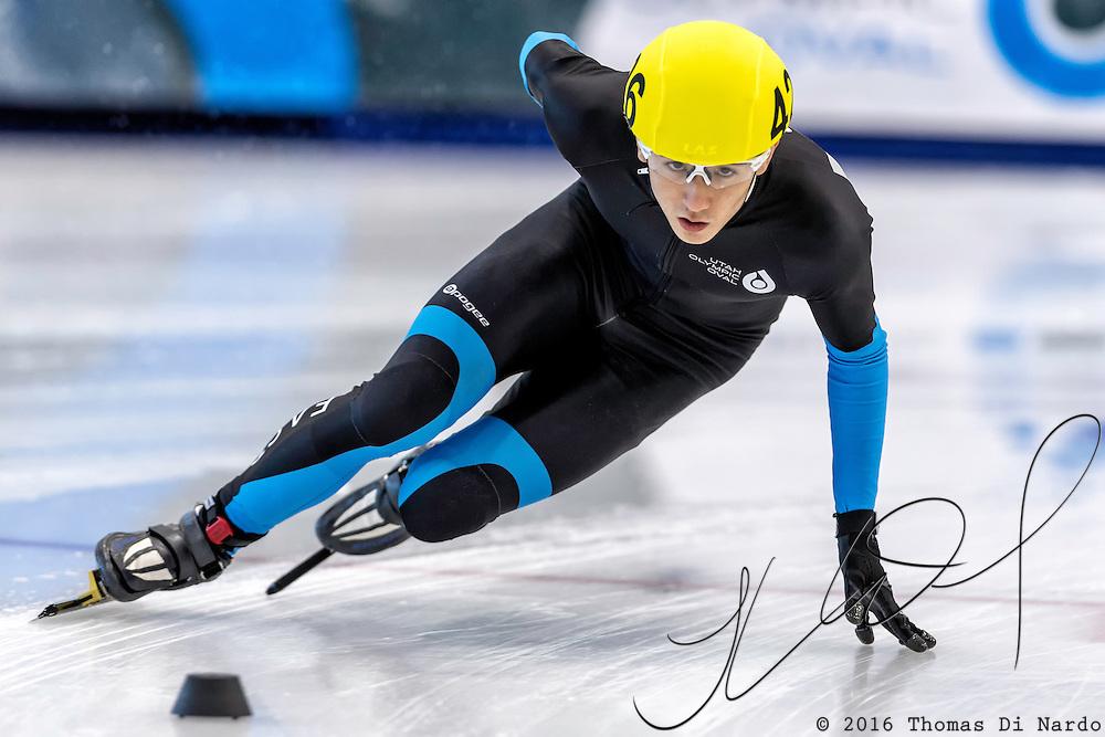 December 17, 2016 - Kearns, UT - Benjamin Thornock skates during US Speedskating Short Track Junior Nationals and Winter Challenge Short Track Speed Skating competition at the Utah Olympic Oval.